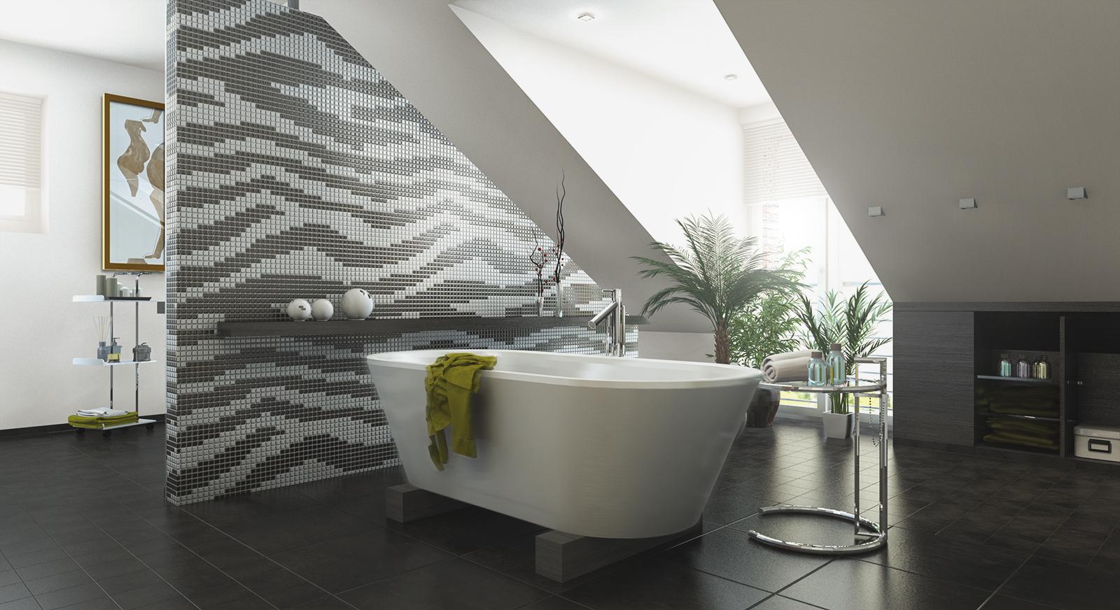 schwarz weiss und grautne bestimmen das ambiente die dusche setzt mit dem krftigem orange des wandbelages glasmosaik einen starken akzent - Dusche Unterm Dach